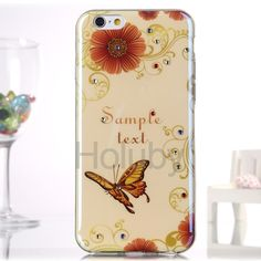 Diamond Blue- Ray IMD Soft TPU Back Case for iPhone 6S Plus / 6 Plus - Red Flower and Butterfly