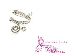 Silver Adjustable Wire Weave Ring with Spiral Accents