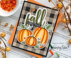 Paper Craft Supplies, Paper Crafts, Pumpkin Images, Pumpkin Cards, Honey Bee Stamps, Bee Cards, Flower Stamp, Thanksgiving Cards, Cricut Creations