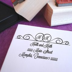 Double Ring Initial Wedding Stamp by Purple Lemon Designs