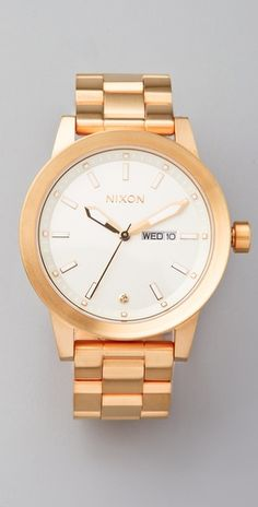$300.00 Nixon The Spur Watch  Style #:NIXON40045, love these clean lines, brushed gold exterior.