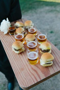 Sliders and an ice cold beer shooter, perfection!