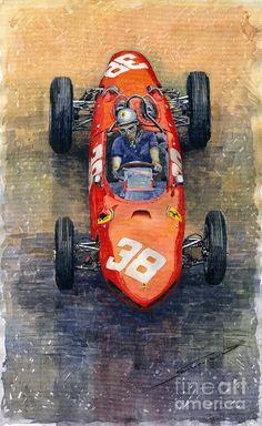 Yurly Shevchuk   WATERCOLOR    Ferrari Dino 156 1962 Monaco Gp