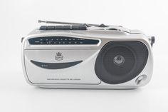 GPO Tape Cassette Player Recorder & AM/FM Radio Portable Retro - Silver Chrome