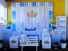 Chá de bebe fofo urso principe Baby Shower Crafts, Baby Shower Fun, Baby Shower Balloons, Baby Shower Parties, Baby Shower Themes, Baby Shower Table Decorations, Birthday Party Decorations, Twin Birthday Cakes, Prince Birthday Party