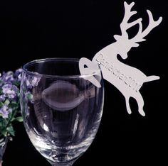100 White Laser Cutting Christmas Deer Wine Glass Place Name Card Wedding Favor   eBay