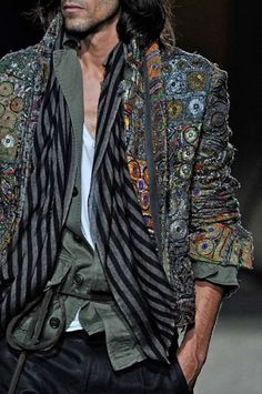 Haider Ackermann Embroidery Mens Jacket and Scarf - I want this beaded mirrored embellishments jacket NOW!!! Xo Karina Pow Pow http://www.karinaporushkevich.com
