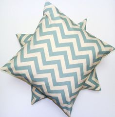 Blue Accent Pillow.SET OF TWO.18x18 inch.Pillow Covers.Free Shipping.Printed Fabric Front and Back  $36.00 USD