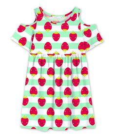 e7d4e81c0cba Sunshine Swing White   Green Stripe   Strawberry Cold-Shoulder Dress -  Toddler   Girls