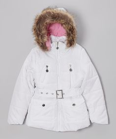 White Long Hooded Puffer Jacket - Toddler & Girls | Daily deals for moms, babies and kids