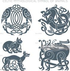 Viking Tattoos Discover Ancient celtic mythological symbol of animals. Stock Illustration : Ancient celtic mythological symbol of animals. Celtic Mythology, Viking Symbols, Viking Runes, Ancient Symbols, Celtic Runes, Mayan Symbols, Egyptian Symbols, Celtic Knots, Norse Tattoo