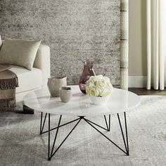 Safavieh Mid-Century Modern Maris Lacquer White / Black Coffee Table | Overstock.com Shopping - The Best Deals on Coffee, Sofa & End Tables