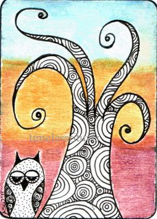 Doodle Owl ATC. #doodle #owl #ATC http://timelessrituals.blogspot.com