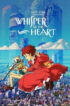 Whisper of the Heart Studio Ghibli Poster, Studio Ghibli Art, Studio Ghibli Movies, Poster Anime, Heart Poster, Japon Illustration, Anime Reccomendations, Japanese Poster, Manga Covers