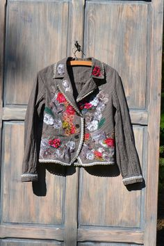 Ornate festive jacket, bohemian romantic, altered couture, embroidered and beaded details Jacket Patwork collage clothing eccentric artisan