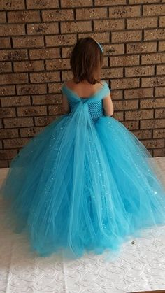 Blue Gown Tutu Dress - Stunning Blue Glittery Gown dress inspired by FunkidsandUs Boutique Cinderella Tutu Dress, Princess Tutu Dresses, Girls Tutu Dresses, Tutus For Girls, Girls Party Dress, Birthday Dresses, Flower Girl Dresses, Maxi Dresses, Party Dresses