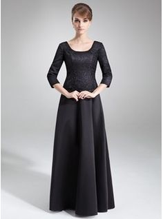A-Line/Princess Scoop Neck Floor-Length Satin Lace Mother of the Bride Dress (008006504) - JJsHouse