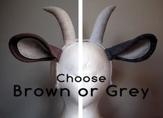 Natural Goat Ears and Horns. Choose Grey or Brown Color.