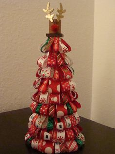 Ribbon Christmas Tree in traditional colors (with reindeer topper).