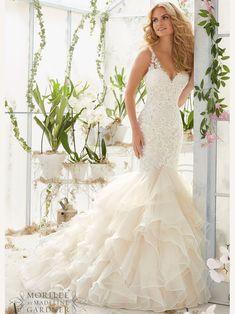 c58521fa32 Mori Lee 2819 V-neck Tulle Mermaid Bridal Dress