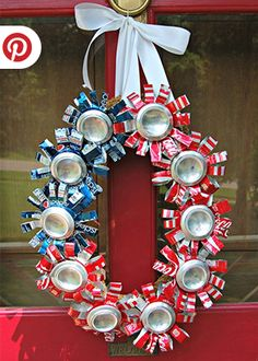 DIY Patriotic Wreath Ideas for of July or Memorial Day Memorial Day, Patriotic Wreath, 4th Of July Wreath, July Crafts, Holiday Crafts, Redneck Christmas, Xmas, Aluminum Can Crafts, Aluminum Cans