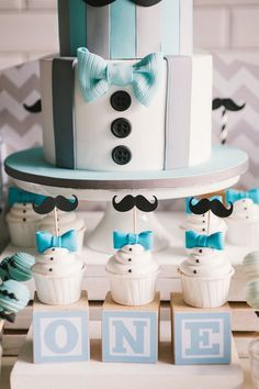Little Man Cupcakes from a Modern Little Man Birthday Party on Kara's Party Ideas | KarasPartyIdeas.com (17)