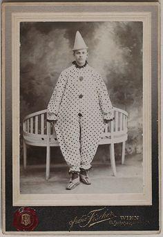 Original vintage 1890s CC man in clown/harlequin costume