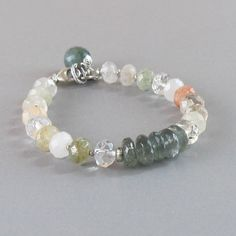 Rutilated Quartz Moss Aquamarine Sterling Silver Bead Bracelet Gemstone DJStrang Green Boho Cottage Chic