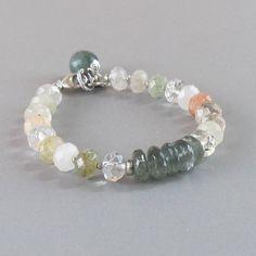 Rutilated Quartz Moss Aquamarine Sterling Silver Bead Bracelet Gemstone DJStrang Green Boho Cottage Chic