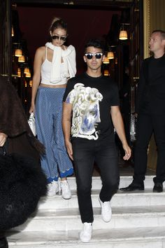 372b9e772afd Joe Jonas wears a  Versace t-shirt with a graphic spin on the iconic