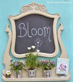 Repurposed Dresser Mirror Frame into a chalkboard