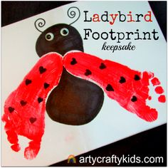 Gorgeous Footprint Ladybird Keepsake, perfect for toddlers and young children. Make them as gifts or stand alone pieces of keepsake art.
