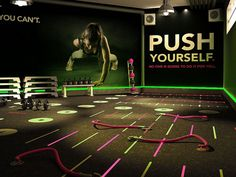 Fitness Mural Idea that I will Want to add thing like this in certain areas that make since for energy.