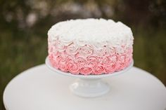 ombre rosette cake fading ivory to dusty rose, another photo...