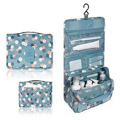 Mr.Pro Waterproof Travel Kit Organizer Bathroom Storage Cosmetic Bag Carry Case Toiletry Bag with Hanging Hook (Polka Dot Blue)