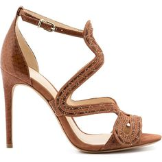 Alexandre Birman 'New Alice' sandals ($1,345) ❤ liked on Polyvore featuring shoes, sandals, brown, leather footwear, real leather shoes, brown leather sandals, leather sandals and brown leather shoes