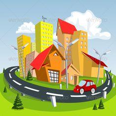 Summer Cartoon City Rumah
