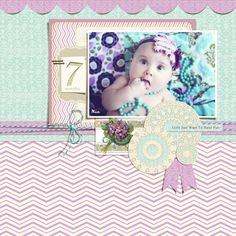 Webster's Pages Girl Land collection in digital format.  Scrapbook layout. baby girl