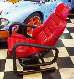 Dave Clark Automotive furniture on theofficechairsho. - this guy makes furniture out of car parts! Garage Furniture, Car Part Furniture, Automotive Furniture, Automotive Decor, Furniture Making, Furniture Design, Furniture Plans, Kids Furniture, Office Furniture