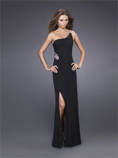 Black Sheath/Column One Shoulder Beaded With High Slit Chiffon Prom Dress PD1333 www.tidedresses.co.uk $159.0000