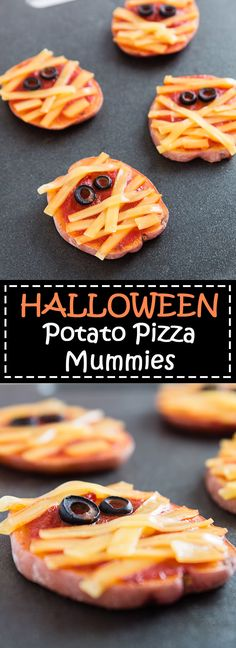 Need a fun Halloween dinner idea for your family? These Halloween Potato Pizza Mummies are the perfect spooky, easy, and healthy bites for Halloween night! Vegan Appetizers, Vegan Dinner Recipes, Vegan Breakfast Recipes, Delicious Vegan Recipes, Vegan Snacks, Vegan Dinners, Whole Food Recipes, Yummy Food, Vegan Food