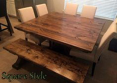 This is our square , pedestal style base, farmhouse table. We can make this one in sizes from 36x36up to 72x72. The one in this picture is a 72x72