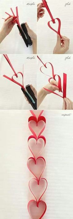 Heart Garland + MORE Valentine Decoration Ideas-Using 8×12 (standard size) card stock paper and cutting them in strips. Probably about 1 inch strips or 1 1/2 inch. Then just using a stapler. Super easy!!