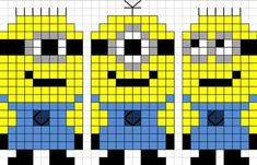 minions: - Guilaine G - Pint Pic Pearler Bead Patterns, Perler Patterns, Loom Patterns, Beading Patterns, Quilt Patterns, Cross Stitch Baby, Cross Stitch Charts, Cross Stitch Designs, Cross Stitch Patterns