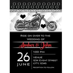 Biker Motorcycle Leather Belt Wedding Invitation