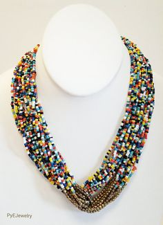 Multi Colored and Gold Beaded  Necklace /  Multi by PyEJewelry