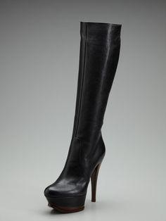 Casadei black platform boot