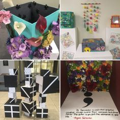 "More @astate_clac student art in the library! This exhibit's theme is ""boxes."""