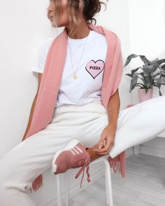 How would you go about styling a pair of millennial pink sneakers?
