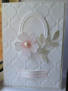 Stampin' Up! Card by Linda Higgins: Simple White-on-white card for a Christening... or anything really..... Flower Shop stamp set, Modern Mosaic Embossing folder, and little leaves die